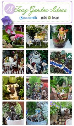 This collection has a wealth of fairy gardens in all different styles! I love the one in the broken pot and the one on the picnic basket the most!