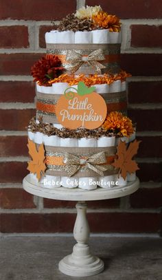 Mini fall burlap diaper cakes fall inspired set of 3 for 3 tier pumpkin decoration
