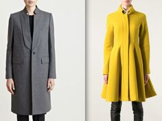"Classically chic, and colorfully sleek. On the left, we have Givenchy's long coat in wool cashmere, with a high collar and triangular cutouts on the lapels. To the right, Italian designer Gianluca Capannolo's ""Twiggy"" coat in a bright mustard wool with a feminine swing skirt."
