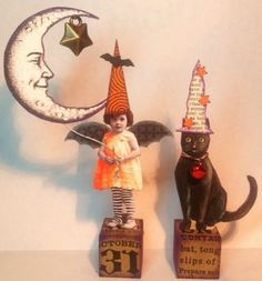 Fairy Cat Witch Moon Original HALLOWEEN Mixed Media Altered Folk aRt Collage
