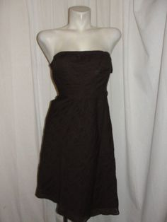 J.CREW Chocolate Brown Puckered Strapless Lined Dress Cotton Size Petite 0P #JCrew #ALine #Casual