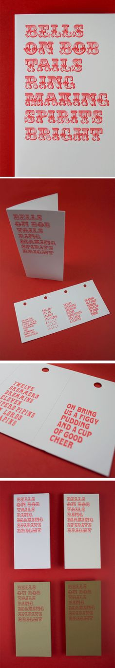 Set of 4 christmas cards on Keaykolour with a fluorescent ink. By B&F papers.