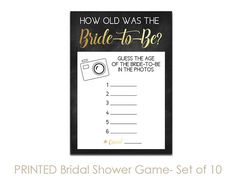 Set of 10 Printed Chalkboard Bridal Shower Games Guess the Age. Click through to find matching games, favors, thank you cards, inserts, decor, and more. Or shop our 1000+ designs for all of life's journeys. Weddings, birthdays, new babies, anniversaries, and more. Only at Aesthetic Journeys