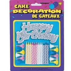 Silver Happy Birthday Cake Topper with Birthday Candles and Holders, 25 Pieces, Multicolor