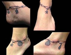 Beach Anklet Tattoo by Dani Tattoo and Piercings, Outer Banks Tattoos | Dani Black & Gray