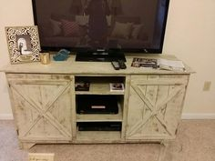 Free Shipping - Rustic Tv Stand/entertainment Center Barndoor Style, Living Room…