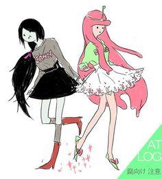 Princess Bubblegum and Marceline wearing girly stuffs (: