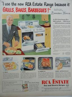 1953 vintage appliance AD, RCA Estate Gas and Electric Stoves, Ranges Retro Advertising, Retro Ads, Vintage Advertisements, Vintage Ads, Vintage Prints, Vintage Posters, Weird Vintage, Vintage Kitchen Appliances, Slate Appliances