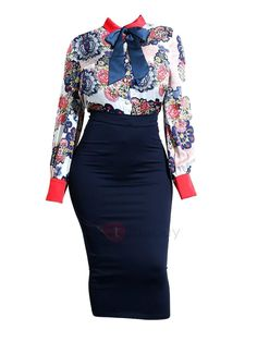 #mothersday #AdoreWe #TideBuy - #TideBuy Color Block Print Bodycon Womens Skirt Suit - AdoreWe.com