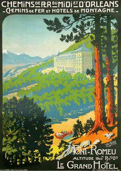 Affiche  PO  MIDI  Font  Romeu  Chemin de Fer et Hotel de Montagne  Henri Germa   1910