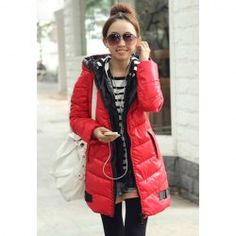 $35.12 Modern Style Scoop Neck Double Hooded Plus Size Long Sleeve Eiderdown Coat For Women