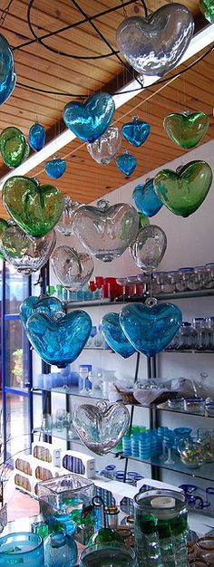 hand blown glass hearts.  Mexico I want some of these to hang up in my house.