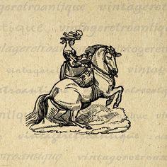 Printable Image Elegnant Lady Riding Horse von VintageRetroAntique, $3.50