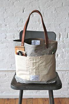 1950s era Ticking Fabric Tote Bag
