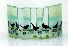 Fused Glass lemon green Bird Windchime, Suncatcher from virtulyglass on Etsy. Saved to glass art. Fused Glass Ornaments, Fused Glass Art, Stained Glass Art, Mosaic Glass, Tiffany, Stain Glass Cross, Melting Glass, Slumped Glass, Glass Wall Art