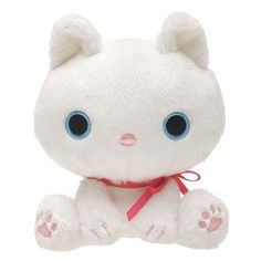 Kawaii White Kutusita Nyanko Cat with Bow Plush Toy $13.64 http://thingsfromjapan.net/kawaii-white-kutusita-nyanko-cat-bow-plush-toy/ #kutsushita nyanko plush #san x plush #kawaii cat plush