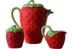 Strawberry Tea Set Set of 3 - One Kings Lane - Vintage & Market Finds - Tabletop Have them! Strawberry Kitchen, Strawberry Tea, Strawberry Patch, Strawberry Fields, Strawberry Recipes, Strawberry Shortcake, Dream Tea, Strawberry Decorations, Pottery Sculpture