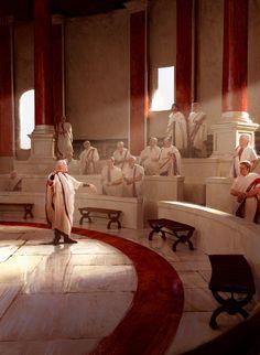 Roman Senate by Pascal Quidault Ancient Rome, Ancient Greece, Ancient History, Roman Architecture, Ancient Architecture, Gizeh, Roman Republic, Empire Romain, Fantasy Concept Art