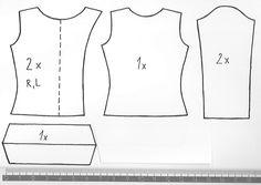 Blúzka sa šije jednoduchšie ako to vyzerá :)      Strihať treba golier jedenkrát, predné diely 2 krát, zadný diel a rukávy dvakrát.      ...