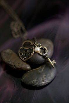 Old Fashioned Bronze Lock and Key Necklace by DistinctlyIvy