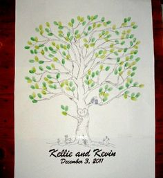 Wedding Tree Fingerprint Guest Book Alternative - Large (Up to 250 guests) 22 x 30 Tree with LoveBirds. $85.00, via Etsy.