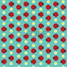 Seamless texture with the image of the ladybug and daisy