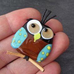 Funky Owl - free shipping - Handmade Lampwork Bead by Anne Schelling, SRA