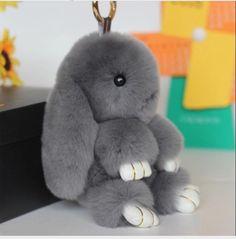15CM Tall Valpeak 100%  Rabbit Fur Doll Handmade Bunny for Womens Bag Charms or Car Pendant  Pom Pom Keychain