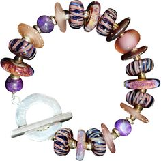 Handcrafted Artisan Bracelet @rubylanecom OOAK Davison Custom Lampwork Beads, Sugalite, and Sterling Bracelet #rubylane #artisan