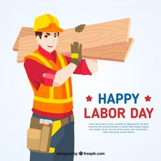 Labor day background with builder. Download thousands of free vectors on Freepik, the finder with more than 3 millions free graphic resources Yellow Theme, Labour Day, Happy Labor Day, Couple Cartoon, Newsletter Templates, Happy People, Business Women, Workplace, Vector Free