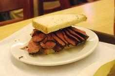 Classic pastrami sandwich at Katz's Deli in NYC
