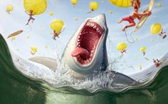 Tiago Hoisel is a Brazilian illustrator with a talent for producing fun, and humorous illustrations. In this article we will feature some of our favorite illustrations from his portfolio. Funny Illustration, Character Illustration, Happy Shark, Funny Paintings, Drawn Art, Modern Canvas Art, Art Watercolor, Image Digital, Digital Art