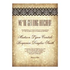 Getting Hitched Vintage Sparkle Wedding Invitation
