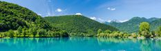 Panoramic image of Most Na Soci lake in Triglav,Slovenia Panoramic Images, Slovenia, River, Mountains, Nature, Outdoor, Outdoors, Naturaleza, Outdoor Games