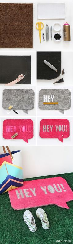 MY DIY | Quote Bubble Welcome Mat | I SPY DIY: