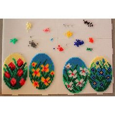 Easter eggs hama mini beads by karinamironovaa Hama Beads Design, Hama Beads Patterns, Beading Patterns, Pearl Crafts, Beaded Crafts, Perler Bead Art, Perler Beads, Seed Bead Art, Beaded Boxes
