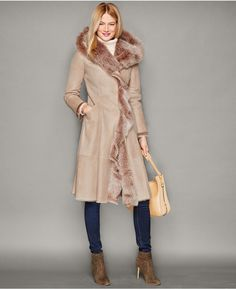 The Fur Vault Shearling Lamb Hooded Ruffled Coat