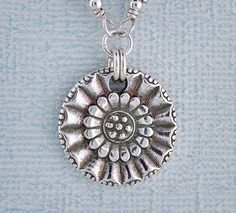 Sunflower+pendant+necklace++fine+silver+PMC+by+BlueMuseJewelry