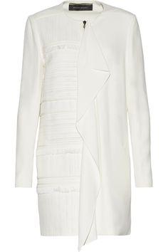 ROLAND MOURET Langley Fringed Piqué-Paneled Crepe Coat. #rolandmouret #cloth #coat