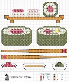 ¿Te gusta el sushi? Bórdalo en punto de cruz.