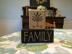 Family custom wood blocks tree primitive rustic distressed stacking blocks shelf sitters custom colors country home gift mantle  on Etsy, $23.95