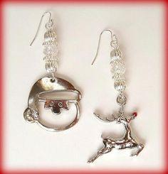 Earrings - Santa Baby and Reindeer with Swarovski Crystals by DancingRainbows, $15.00 USD