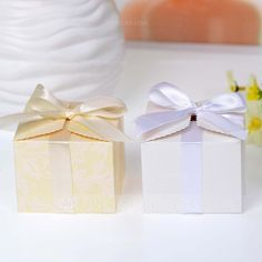 Beautiful Cuboid Favor Boxes With Bow (Set of 12) (050046729) - JJsHouse