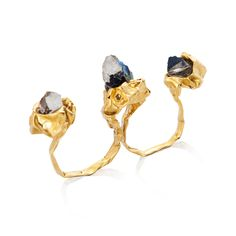 Shop for Niza Huang C R U S H 2 Fingers Ring - Gold on Pietra. Free ground shipping and fully insured. Gold Finger Rings, Ring Finger, Gold Rings, Ring Size Guide, Jewelry Accessories, Unique Jewelry, Herkimer Diamond, Smoky Quartz, Jewelery