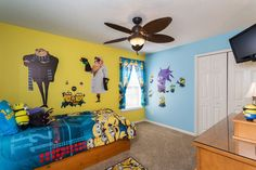 "Kids of all ages will love getting silly in this ""Despicable Me""-themed bedroom in 8014 Acadia Estates featuring mischievous minions, Gru and Dr. Nefario. Watch out for the funny evil minion!"