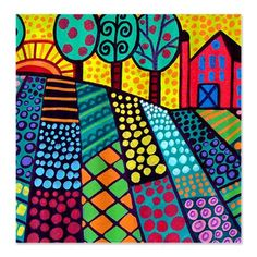 Heather Galler Landscape folk art Shower Curtain