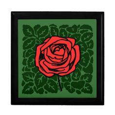 Art Nouveau Red Rose on green Keepsake Box