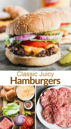 A classic, juicy Hamburger Recipe made with ground chuck, a simple burger seasoning, and all of the classic burger toppings. Plus, tips for preparing the meat and cooking the burgers to they are tender and juicy! #hamburger #grilling #cheeseburger #bbq via @betrfromscratch Juicy Hamburger Recipe, Hamburger Seasoning Recipe, Grilled Hamburger Recipes, Easy Meat Recipes, The Best Burger, Best Burger Recipe, Simple Burger Recipe, Bbq Hamburgers, Homemade Hamburgers