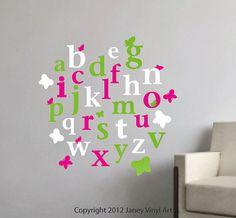 Alphabet Wall Decal Sticker Art - Butterfly ABCs Nursery Wall Decal - Preschool Wall Art Toddlers Bedroom