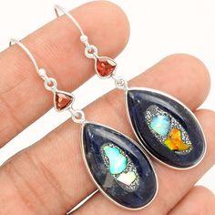 Ethiopian Opal In Sodalite 925 Sterling Silver Earrings Jewelry SE107076 | eBay